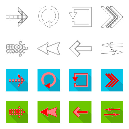 Vector design of element and arrow icon. Collection of element and direction stock symbol for web. Illustration