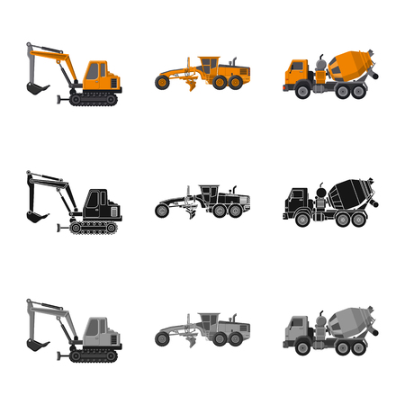 Isolated object of build and construction logo. Set of build and machinery vector icon for stock. Logo