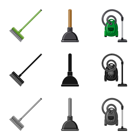 Isolated object of cleaning and service icon. Collection of cleaning and household stock symbol for web.