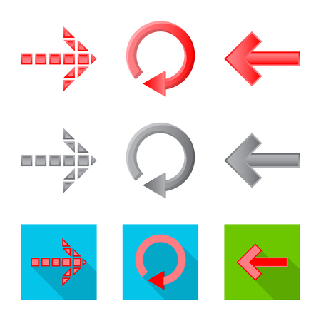 Vector illustration of element and arrow icon. Collection of element and direction stock symbol for web.