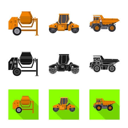Vector design of build and construction sign. Collection of build and machinery stock vector illustration.