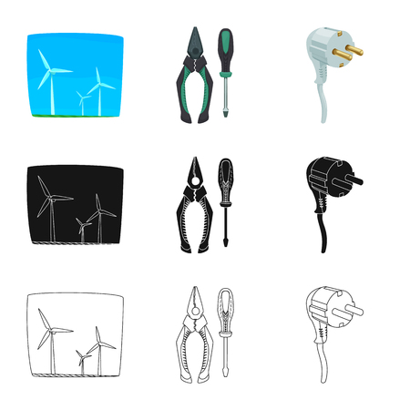 Vector illustration of electricity and electric logo. Set of electricity and energy vector icon for stock. Иллюстрация
