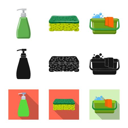 Vector design of cleaning and service sign. Collection of cleaning and household stock symbol for web.