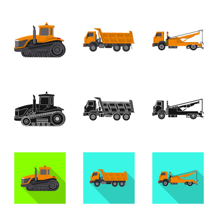 Isolated object of build and construction logo. Set of build and machinery stock symbol for web. Stock Photo