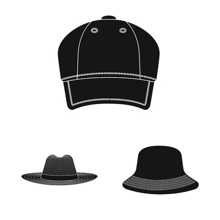 Isolated object of headgear and cap sign. Collection of headgear and accessory stock symbol for web.