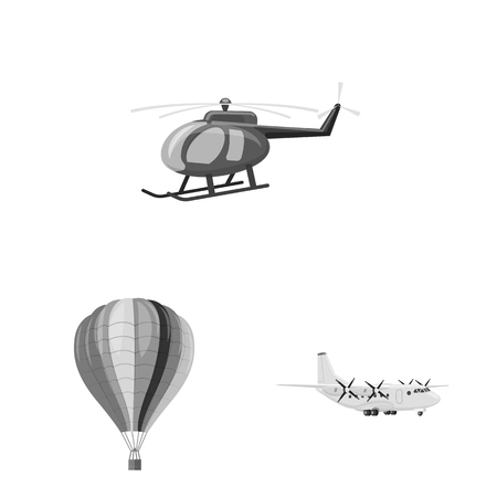 Isolated object of plane and transport icon. Collection of plane and sky stock vector illustration. Illustration