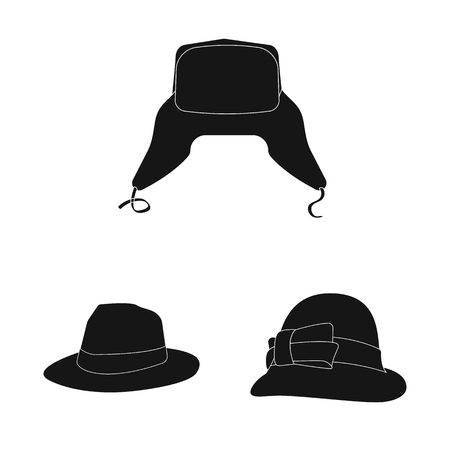 Vector design of headgear and cap icon. Collection of headgear and accessory vector icon for stock. Illustration