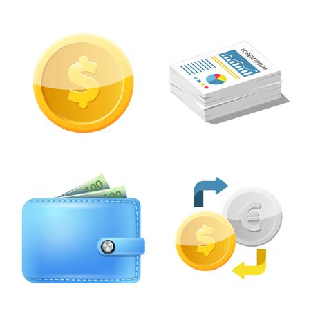 Diseño vectorial de banco y signo de dinero. Colección de símbolo de acciones bancarias y facturas para web.