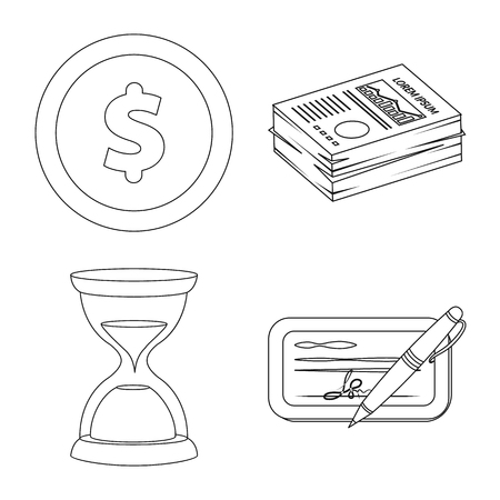 Vector illustration of bank and money symbol. Set of bank and bill stock symbol for web.