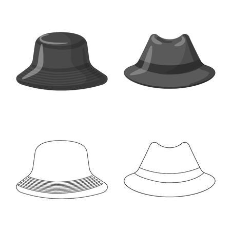 Vector design of headgear and cap symbol. Set of headgear and accessory stock symbol for web.