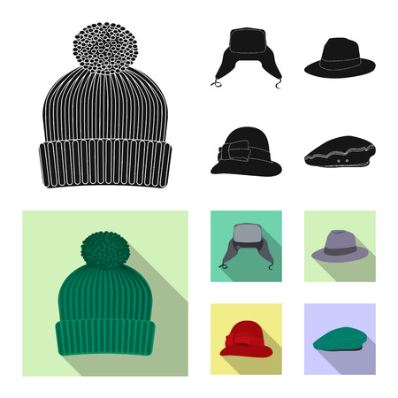 Isolated object of headgear and cap icon. Collection of headgear and accessory vector icon for stock. Ilustracje wektorowe