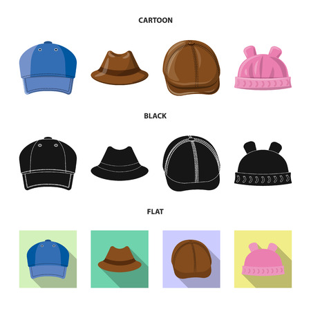 Vector design of headgear and cap sign. Set of headgear and accessory stock vector illustration.