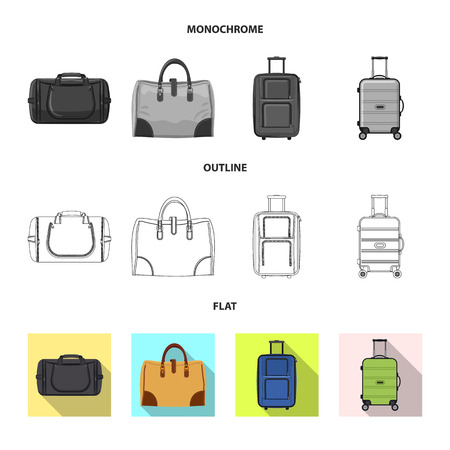 Isolated object of suitcase and baggage sign. Collection of suitcase and journey vector icon for stock.