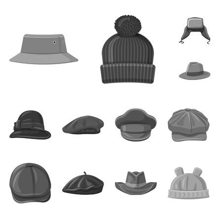 Vector design of headgear and cap symbol. Collection of headgear and accessory vector icon for stock. Illusztráció