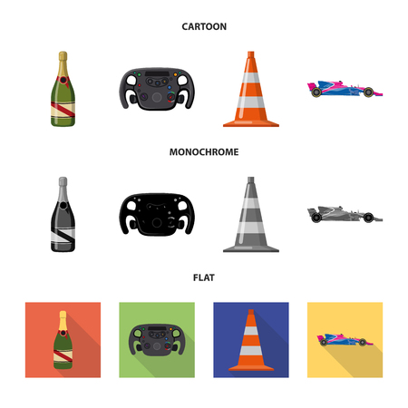 Vector illustration of car and rally sign. Collection of car and race stock symbol for web.  イラスト・ベクター素材