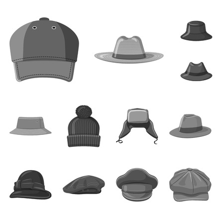 Vector illustration of headgear and cap icon. Collection of headgear and accessory stock vector illustration. Stock Illustratie