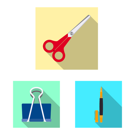 Vector design of office and supply sign. Set of office and school vector icon for stock. Illustration