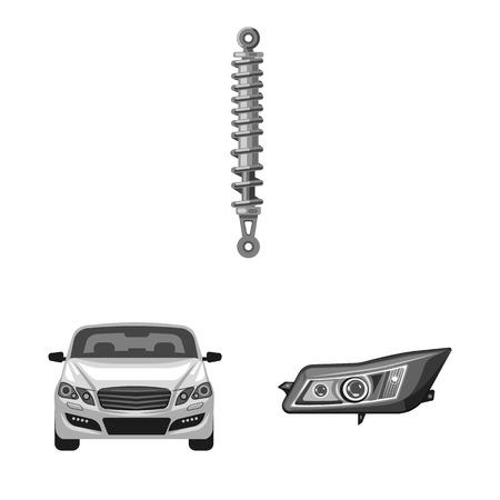 Vektordesign des Auto- und Teillogos. Sammlung von Auto- und Autoaktiensymbolen für das Web.