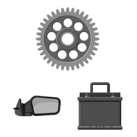 Vector illustration of auto and part sign. Set of auto and car stock vector illustration.