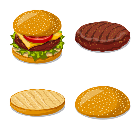 Isolated object of burger and sandwich icon. Set of burger and slice vector icon for stock.