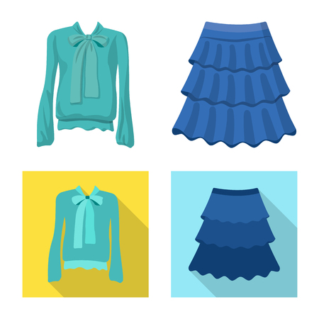 Isolated object of woman and clothing icon. Set of woman and wear stock symbol for web.
