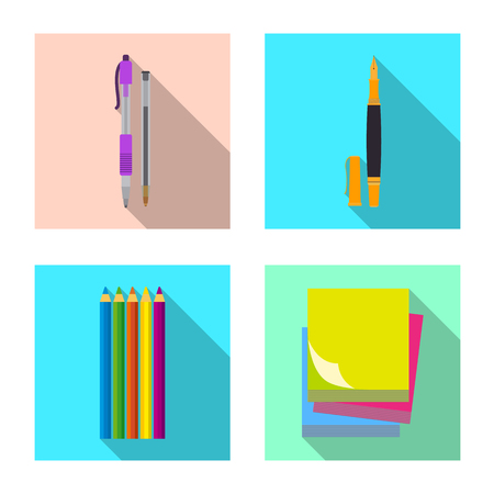 Isolated object of office and supply symbol. Collection of office and school stock symbol for web.