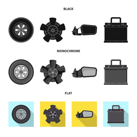 Vector illustration of auto and part symbol. Collection of auto and car stock vector illustration. Standard-Bild - 110741709