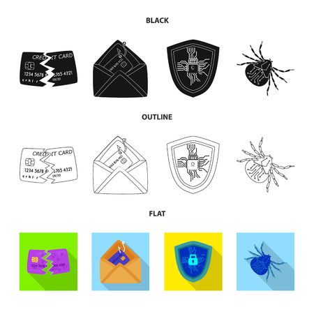 Isolated object of virus and secure symbol. Collection of virus and cyber stock vector illustration.