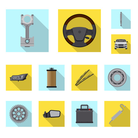 Vector design of auto and part symbol. Set of auto and car vector icon for stock. Standard-Bild - 110741637