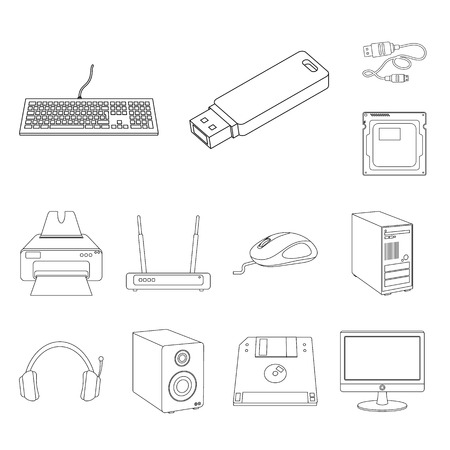 Vector illustration of laptop and device symbol. Collection of laptop and server vector icon for stock.