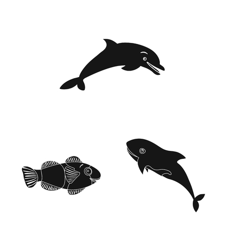 Vector illustration of sea and animal icon. Collection of sea and marine vector icon for stock. Vectores