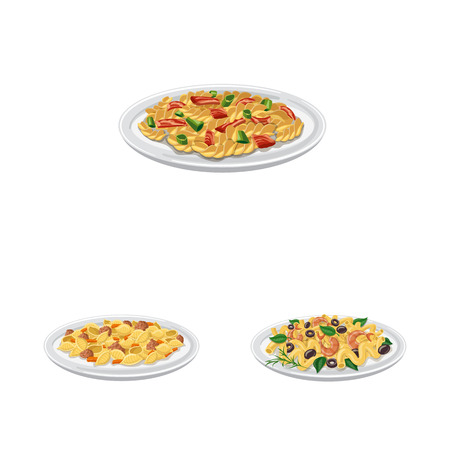 Vector design of pasta and carbohydrate logo. Set of pasta and macaroni vector icon for stock.