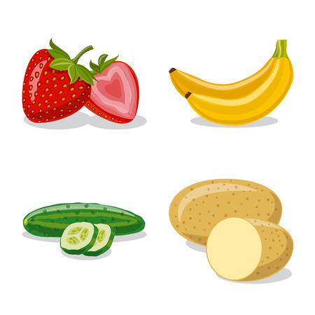 Illustrazione vettoriale di verdura e frutta simbolo. Raccolta di verdure e vegetariane stock illustrazione vettoriale.