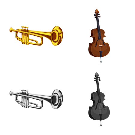 Vector design of music and tune sign. Set of music and tool stock vector illustration. Banque d'images - 111061754