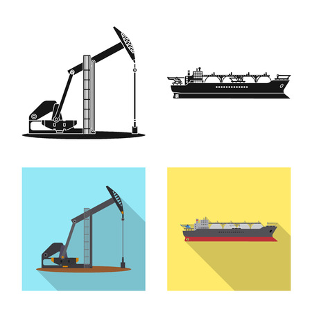 Vector design of oil and gas logo. Collection of oil and petrol stock symbol for web.