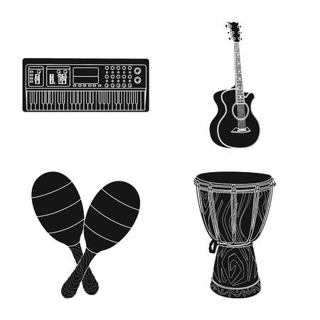 Objeto aislado de música y signo de melodía. Conjunto de icono de vector de música y herramienta para stock.