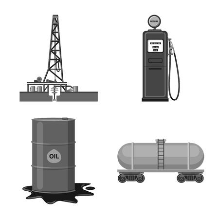 Illustration vectorielle du signe du pétrole et du gaz. Collection d'icône de vecteur d'huile et d'essence pour le stock. Vecteurs