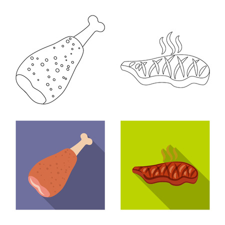 Isolated object of meat and ham sign. Collection of meat and cooking stock symbol for web.