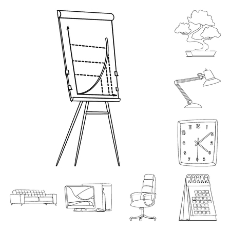 Isolated object of furniture and work symbol. Collection of furniture and home stock vector illustration. 일러스트