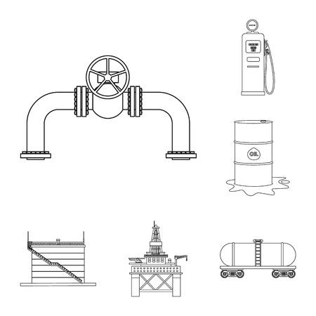 Objet isolé du symbole du pétrole et du gaz. Collection d'icône de vecteur d'huile et d'essence pour le stock.