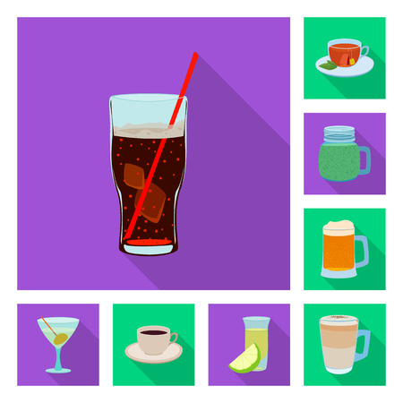 Vector design of drink and bar logo. Collection of drink and party stock vector illustration. Logos