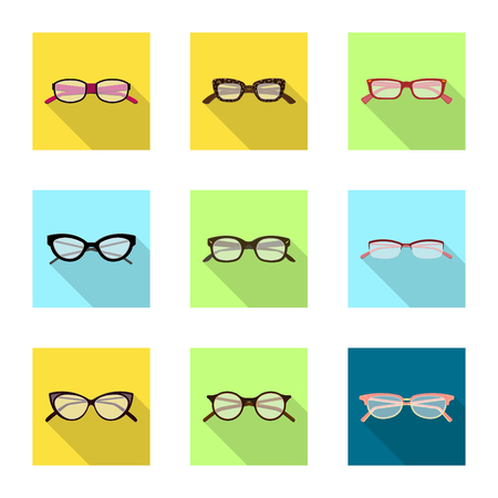 Isolated object of glasses and frame icon. Set of glasses and accessory stock symbol for web.
