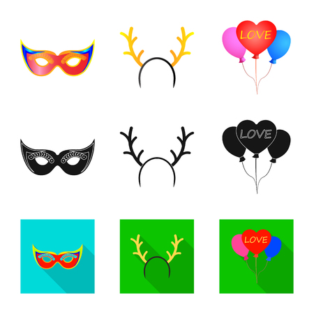 Vector illustration of party and birthday symbol. Collection of party and celebration stock symbol for web.