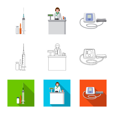 Vector illustration of pharmacy and hospital icon. Set of pharmacy and business stock vector illustration.