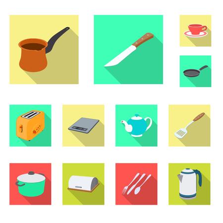 Objet isolé du symbole de cuisine et cuisinier. Ensemble d'icône de vecteur de cuisine et appareil pour le stock.