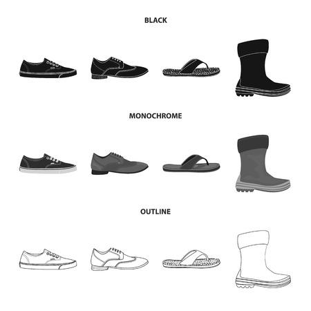 Vector illustration of shoe and footwear logo. Set of shoe and foot vector icon for stock.