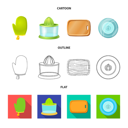Vector design of kitchen and cook icon. Set of kitchen and appliance stock vector illustration.