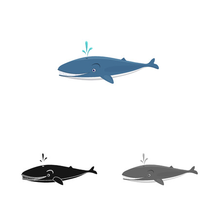 Vector design of sea and animal sign. Set of sea and marine stock vector illustration. Stock Illustration - 111092451