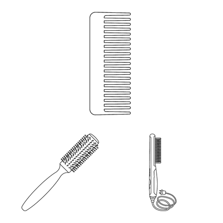 Vector design of brush and hair icon. Collection of brush and hairbrush vector icon for stock.