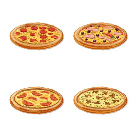 Isolated object of pizza and food symbol. Collection of pizza and italy stock symbol for web.